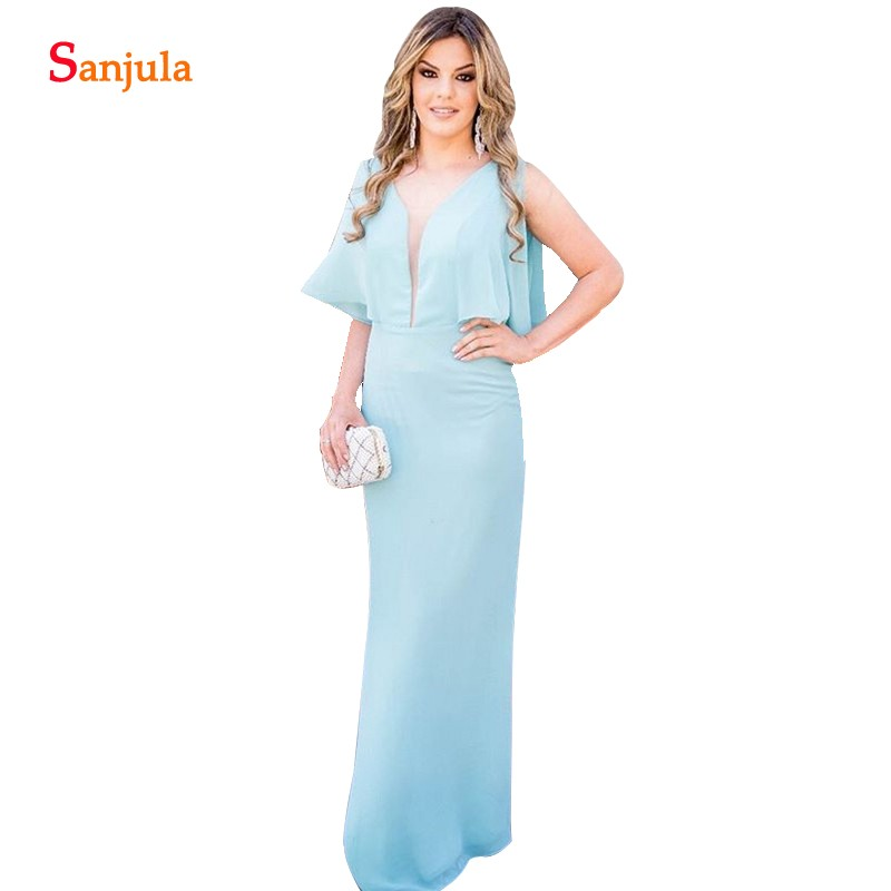 Deep V-neck Blue Wedding Party Gowns Sheath Chiffon Long   Bridesmaid     Dresses   Simple Longo Vestido De Festa