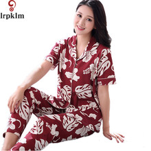 Women's Pajamas Thin Sleepwear Female Summer Cotton Short Sleeve Full Length Pants pyjamas Women Lounge Pajama Set M-4XL SY735