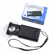 1Pcs 30x 60x Magnifier LED Mini Pocket Portable Hand Magnifying Jeweler Microscope Currency Detector Old Man Reading Glass