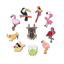 Anime Brooches For Women Kids Lapel Pin Beetle Toucan Flamingo Frog Dog Woodpecker Swallow Pin Badge Metal Blackpink Accessories(China)