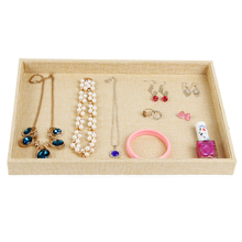 LAN LIN jewelry receive tray yellow linen display tray fashion rings Display Show storage earring receive 35*24*3.5cm hot sell