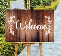 Rustic Welcome Wedding Sign,Wood Wedding Entrance Welcome Sign With Leaves,Engagement Birthday Party Welcome Sign,Home Decor