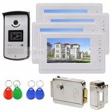 DIYSECUR 7 inch Color Video Door Phone Handsfree Intercom Electric Lock Keyfob Unlock 1 v 4