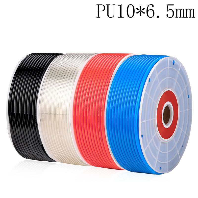 Free shipping PU Pipe 10*6.5mm for air & water 10M/lot Pneumatic parts pneumatic hose ID 6.5mm OD 10mm water valve connector sucking pipe of filling machine water drawing hose pvc pipe steel spring inside food safe od 40mm 2m