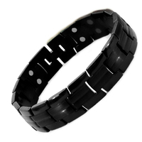 38 Full Black Color 5in1 Magnetic Bio Magnet Therapy Bracelet Bangles Stainless Steel Chain Link Healthy Jewelry For Men & Women