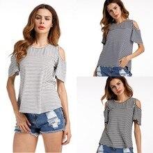 Striped T-Shirts Spring Summer Women's Casual Round Neck Short Sleeve Knit Slim short-sleeved T-Shirt  cotton Black Gray women's navy basic knit round neck t shirts
