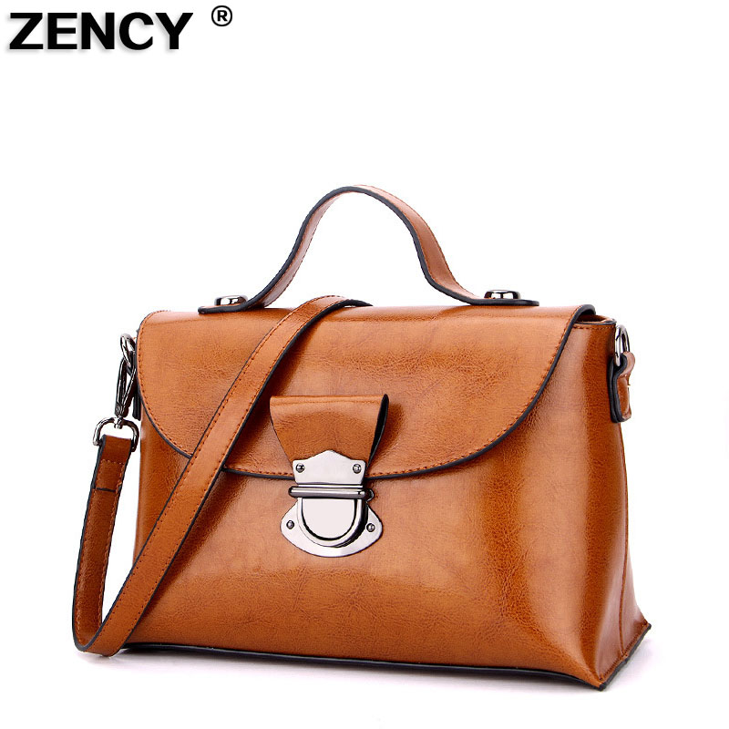 Vintage Genuine Leather Women Tote Handbag European Style Luxury Famous Brand Ladies Oil Wax Cow Leather Messenger Shoulder Bag new 2017 fashion brand genuine leather women handbag europe and america oil wax leather shoulder bag casual women