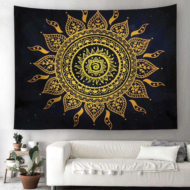 Golden Sun Mandala on Black Tapestry / Bed Cover / Picnic Blanket + AAEONIX Energy Balancing Kit