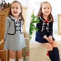 2016 Kids Spring Korean Girls Long-sleeved / College Fake Two Dress Style Double-breasted Buttons Sub School Navy Regular