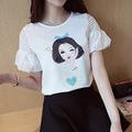 Tops&Tees Women 2017 Printed T-shirt Short Puff Sleeve Fashion O-neck White Loose Casual Shirt Fashion Korean Clothing Plus Size