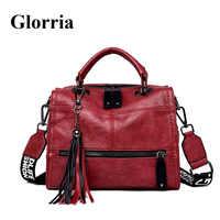 Glorria 2019 高級ハンドバッグ女性のバッグデザイナー牛革ショルダーバッグ女性タッセルバッグ女性ビッグトー嚢