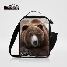 """Dispalang дети обед мешки Медведь животных печати тепловой сумка-холодильник для хранения детского питания изоляции мальчиков """"Ланч-бокс"""" Сумка для школы"""