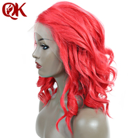 QueenKing волос Синтетические волосы на кружеве парик 250% Платиновый огонь красный боб парик Свободные волны свободной части предварительно выщ