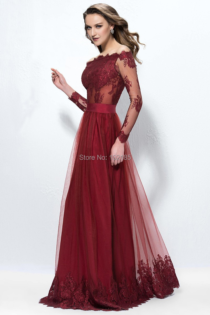 3107a71ba27d New Design Elegant Bordeaux Red Off The Shoulder Long Sleeves Lace Tulle Prom  Dress Women Gown Free Shipping JPD171-in Prom Dresses from Weddings    Events ...