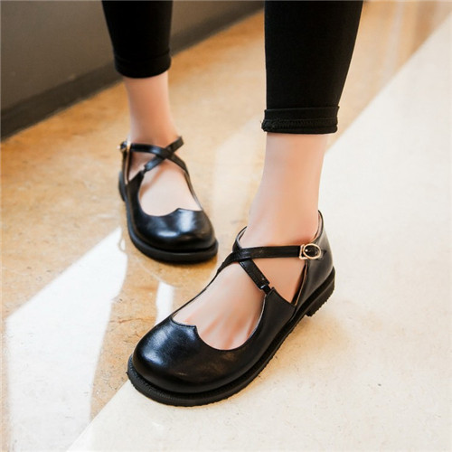 21f3215eb774 PXELENA 2017 Fashion New Sweet Womens Round Toe Casual Flats Buckle Cross Strap  Mary Jane Girls Ballet Flats Shoes Plus Size