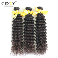 Cexxy Hair Products Natural Color Unprocessed Human Indian Virgin Hair Weaves Extension Deep Curly 3PCS/LOT Free Shipping DHL