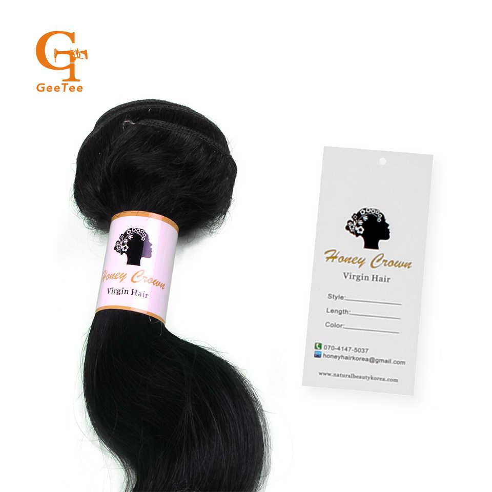 Custom virgin human hair bundles wrap self adhesive paper stickers hang taghair packaging wrapping