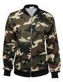 Alishebuy New Fashion Women Casual O-Neck Long Sleeve Camouflage Zip Short Coat Jacket