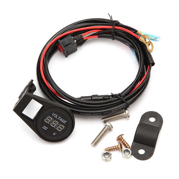 DC 12 V-24 V LED voltmètre de moto numérique voltmètre jauge avec faisceau de câblage de commutateur pour camion de voiture