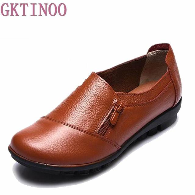 2018 New spring genuine leather flat heel women single shoes women's casual shoes female flats leisure shoes soft mother shoes