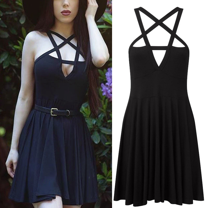 Fashion Sexy Women Gothic Halter Dresses Five-pointed Star Weave Sleeveless summer Dress Vintage Romantic Ladies Pleated Dress