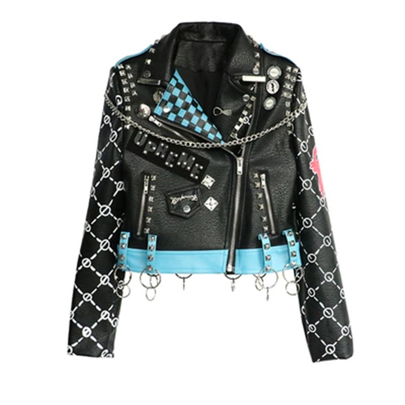 biker jacket New Design Spring Autumn PU   Leather   Jacket Faux Soft   Leather   Coat Slim Black Rivet Zipper Motorcycle   Leather   Jacket