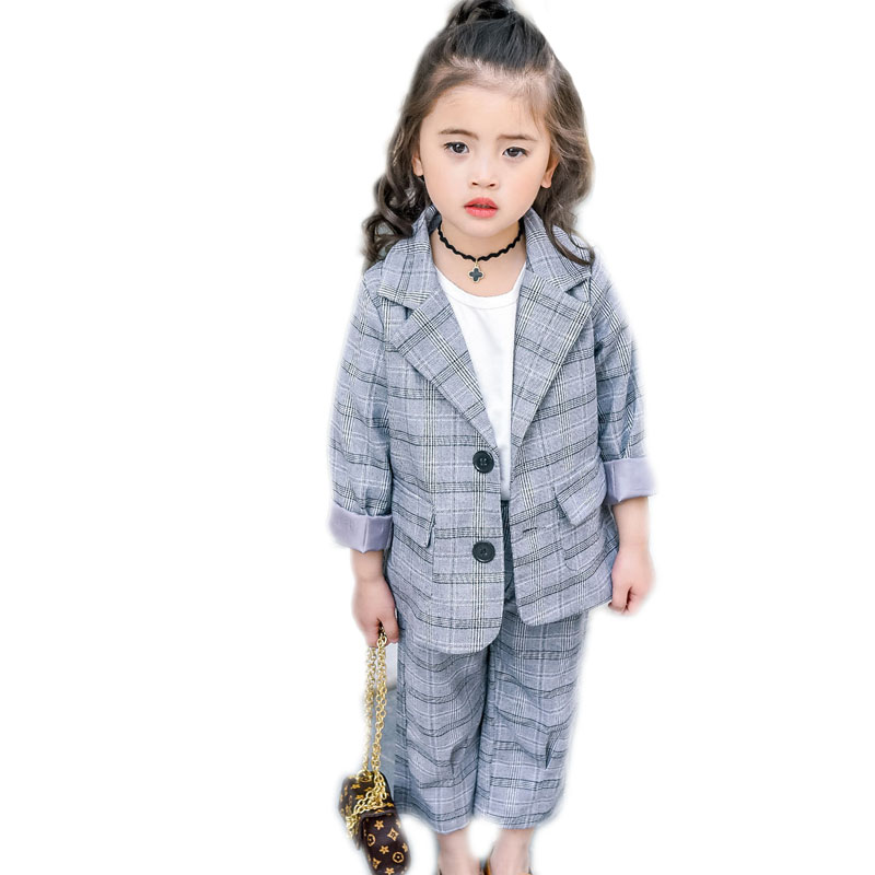 baby girl clothes sets 2017 spring casual plaid kids clothes top turn down collar blazer jackets+pants girls suits formal 2-7T