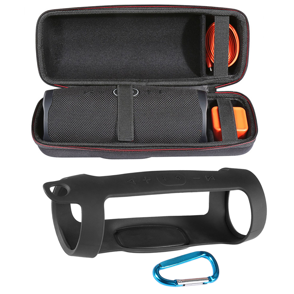 2 in 1 Hard <font><b>EVA</b></font> Zipper Carry Storage Box Bag+ Soft Silicone Case Cover for <font><b>JBL</b></font> <font><b>Charge</b></font> <font><b>4</b></font> Bluetooth <font><b>Speaker</b></font> for <font><b>JBL</b></font> Charge4 Column image