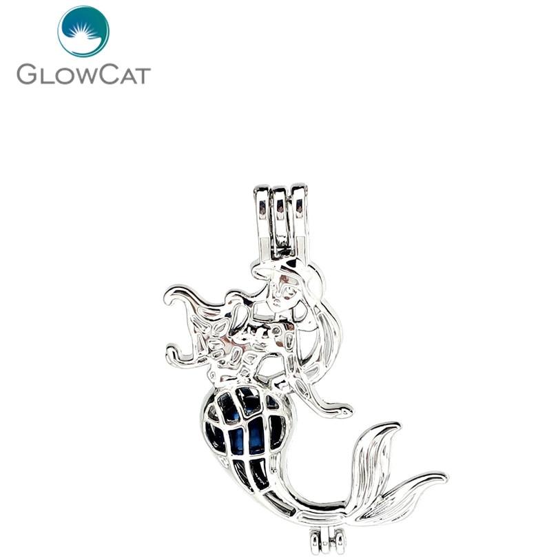 K1166 5pcs/lot Silver Alloy Mermaid Fairy Tale Pearl Beads