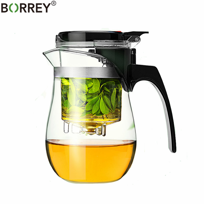 BORREY Teapot Glass Tea Pot 500Ml Heat Resistant Glass Tea Pot With Infuser Filter Kung Fu Tea Set Clear Glass Water Kettle