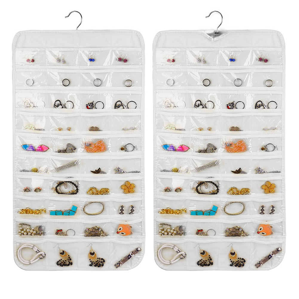 80 Pockets Fashion Brief Practical Double Sided Hanging Jewelry Display Organizer Storage Bag