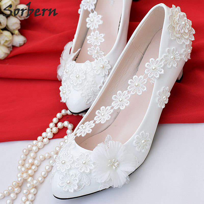 цена на Sorbern Chic White Shoes Woman Low Heel Big Size Slip On Wedding Shoes Slip On Bridal Party Shoes Lace Appliques Beads Cheap