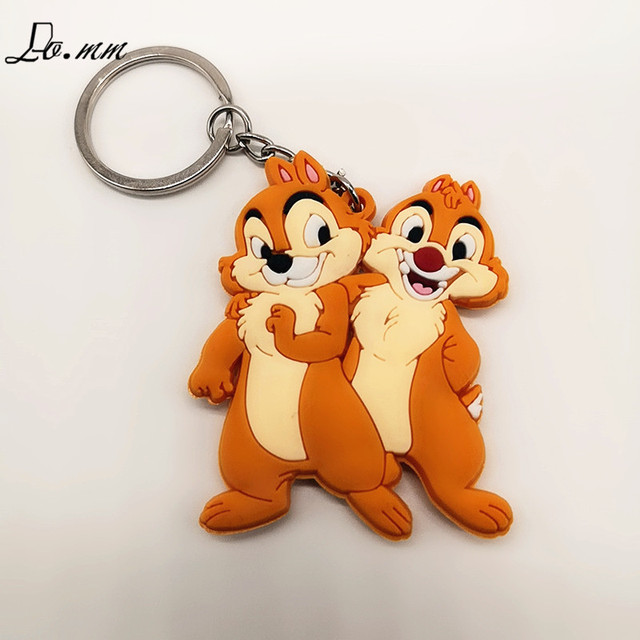 Chip 'n Dale Rescue Rangers chipmunk Keychain Orange Yellow Animal Cartoon loveliness small Men Women portable simple Toy party