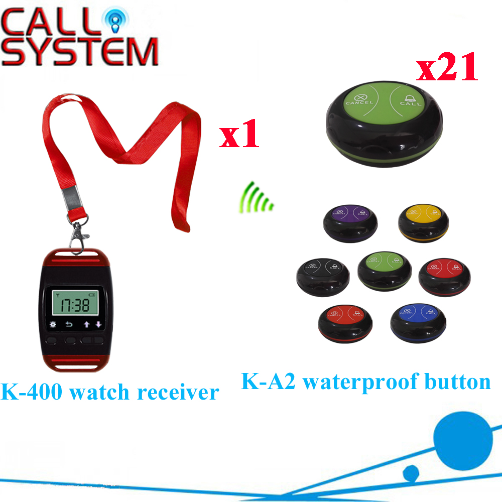 Table Bell Calling System Promotions Wireless Calling With New Arrival Restaurant Pager CE Approval(1 watch+21 call button) restaurant pager watch wireless call buzzer system work with 3 pcs wrist watch and 25pcs waitress bell button p h4