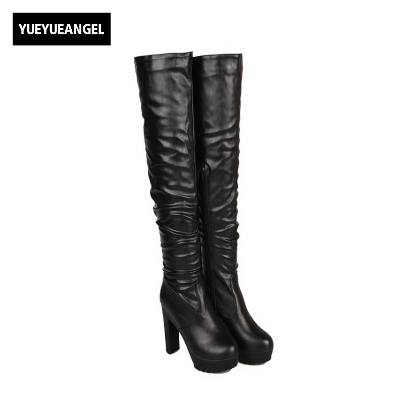 Hot Sale Women Shoes Patent Leather High Heel Shoes Femme Over The Knee Boots Side Zipper Pointed Toe Lady Sexy Platform Black new extreme high heel 20cm heel pointed toe sexy patent leather heel needle metallic sexy fetish inseam boots a 027