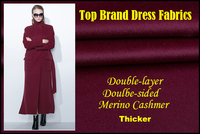 2018 High end Brand Coat Thicker Wool Silk Fabric Double sided Merino Cashmer Short Soft Glossy diy Fabric for Dress stitch lilo