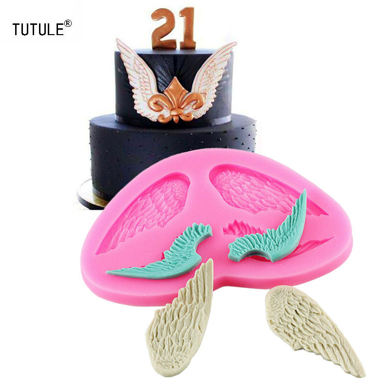 Gadgets - Angel wings liquid silicone inverted sugar mold dry Peisi baking tool Baking sugar cake mold chocolate biscuits