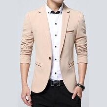 Дропшиппинг для мужчин Блейзер Осень Весна Элитный бренд высокое качество Slim Fit пиджак сплошной цвет хаки Terno Masculino 4XL