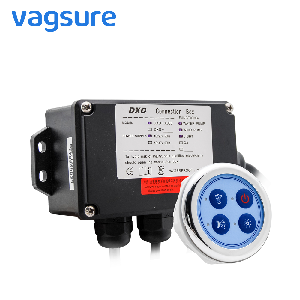 Vagsure 6.5cm Bath Water Pump Control Panel Digital Controller Kit Wind Bottom Spa Combo Air Massage Whirlpool Board For Bathtub