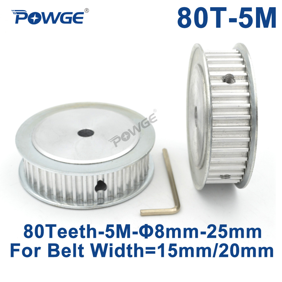 POWGE 80 Teeth HTD 5M Synchronous Timing Pulley Bore 8/10/12/15/16/17/19/20/22mm for Width 15/20mm HTD5M Gear wheel 80Teeth 80T все цены