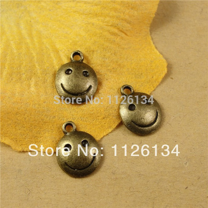 50 pc charm Jewelry accessories and parts Vintage Small pendant Antique Bronze smiling face DIY making Bracelet Jewelry parts