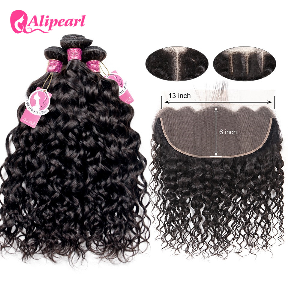 Alipearl Hair Water Wave Bundles With Closure Brazilian Hair Weave 3 Bundles With 5x5 Closure Natural Color Remy Hair Extension Hair Extensions & Wigs