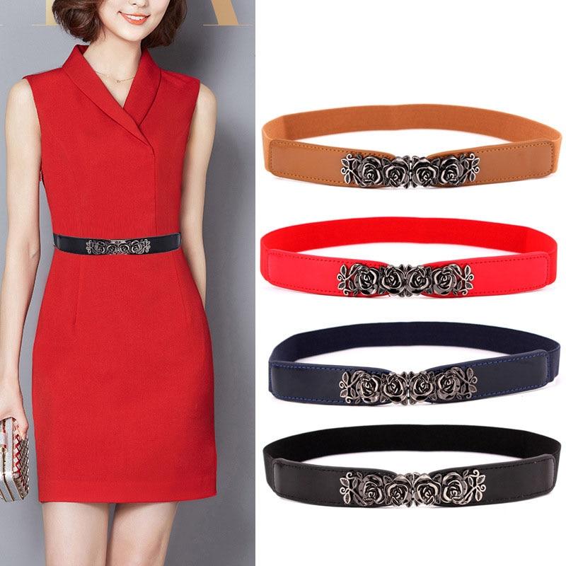 KWD Designer Belts High Quality Women Fashion 2019 Ladies Elastic Rose Flower Vintage Waist Belt Luxury Dress Female Cummerbunds