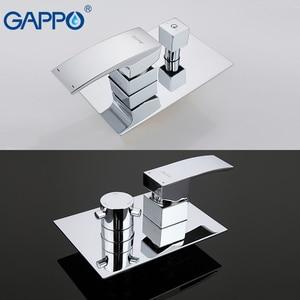 Image 3 - GAPPO Grifo de ducha de baño de pared de latón, grifo mezclador de ducha de lluvia, grifo de bañera cromado, ducha de baño de cascada