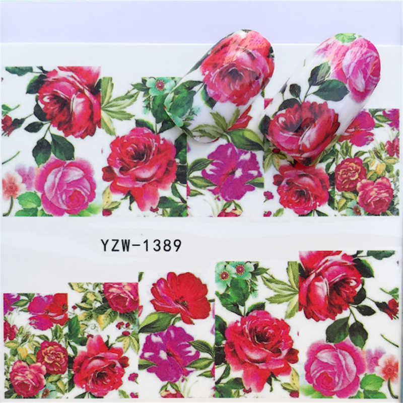 1 PC Flower Series Partten Nail Slider Art Water Transfer Sticker Nail Art Decoration Decal Manicure