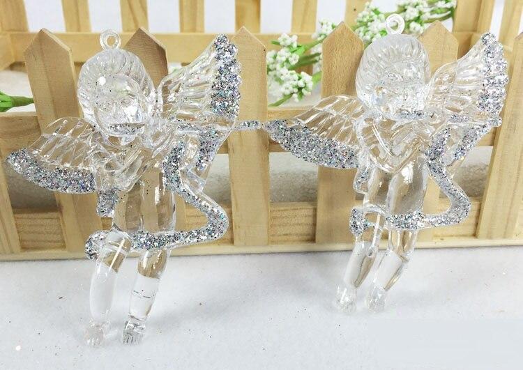 Svatební doplňky 4 ks zlatých a stříbrných smíšené akrylové anděl pro svatební laskavosti a dárky svatební dekorace