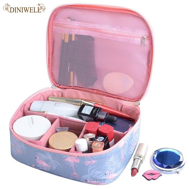 Fashionable female Flamingo Waterproof Cosmetic Bag Organizer Toilet Set Large Capacity Portable Cosmetic Bag Travel Essentials цена