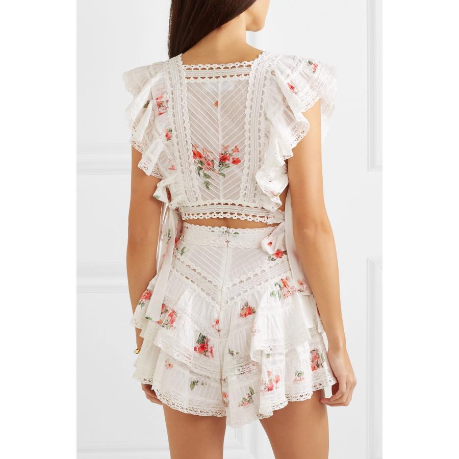 女性のツーピースの衣装夏のレースのノースリーブクロップトップ + ハイウエストショーツ 2 個セットフリル中空アウト刺繍女性セット  グループ上の レディース衣服 からの レディースセット の中 3