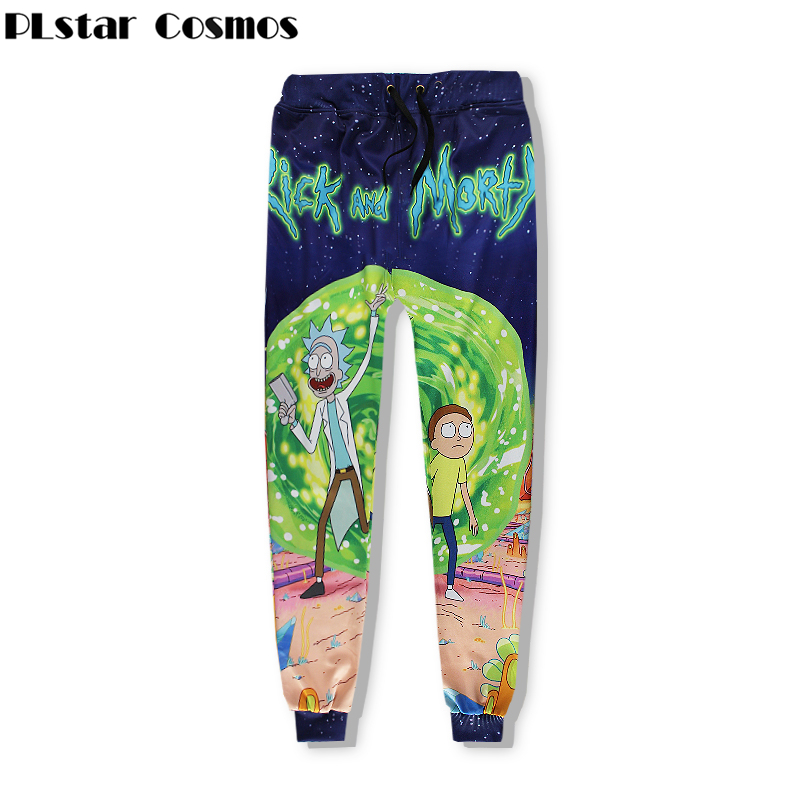 PLstar Cosmos 2018 New Fashion Men Women Sweat Pants Pants Joggers Cartoon Rick and Morty 3d print casual Hip Hop Trousers
