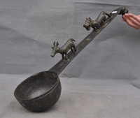 wedding decoration 24Old Chinese Bronze Ware Ancient Folk deer beast head Ladle Scoop Spoon Statue
